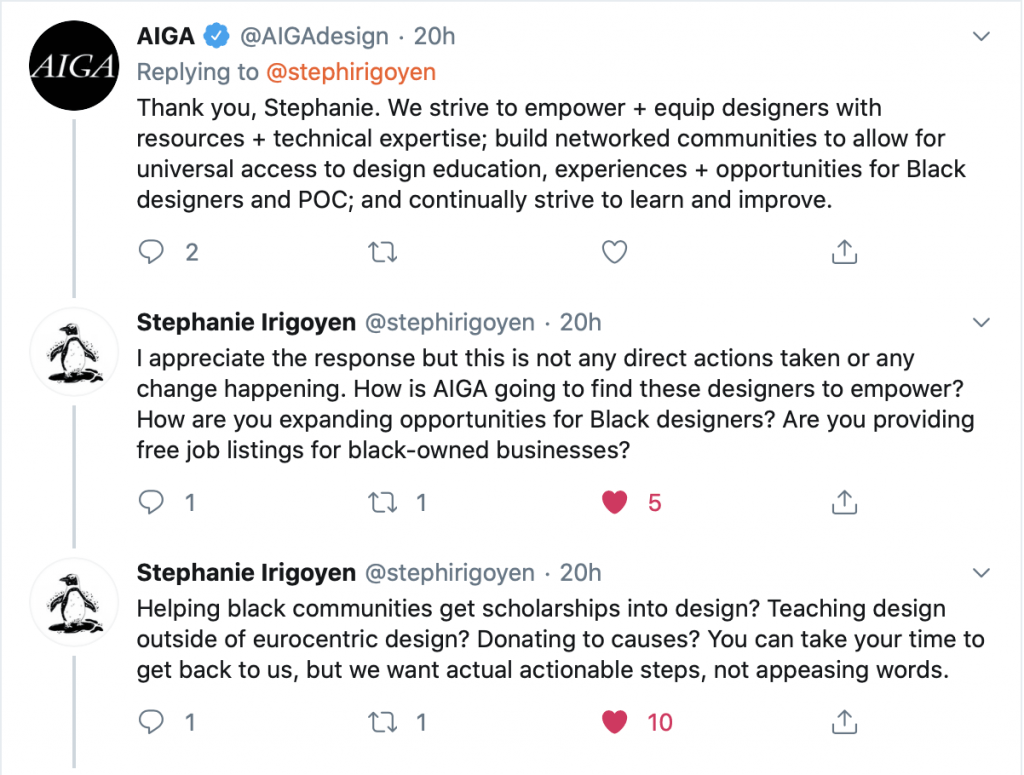 AIGA's non-response to what they're doing to help the Black community