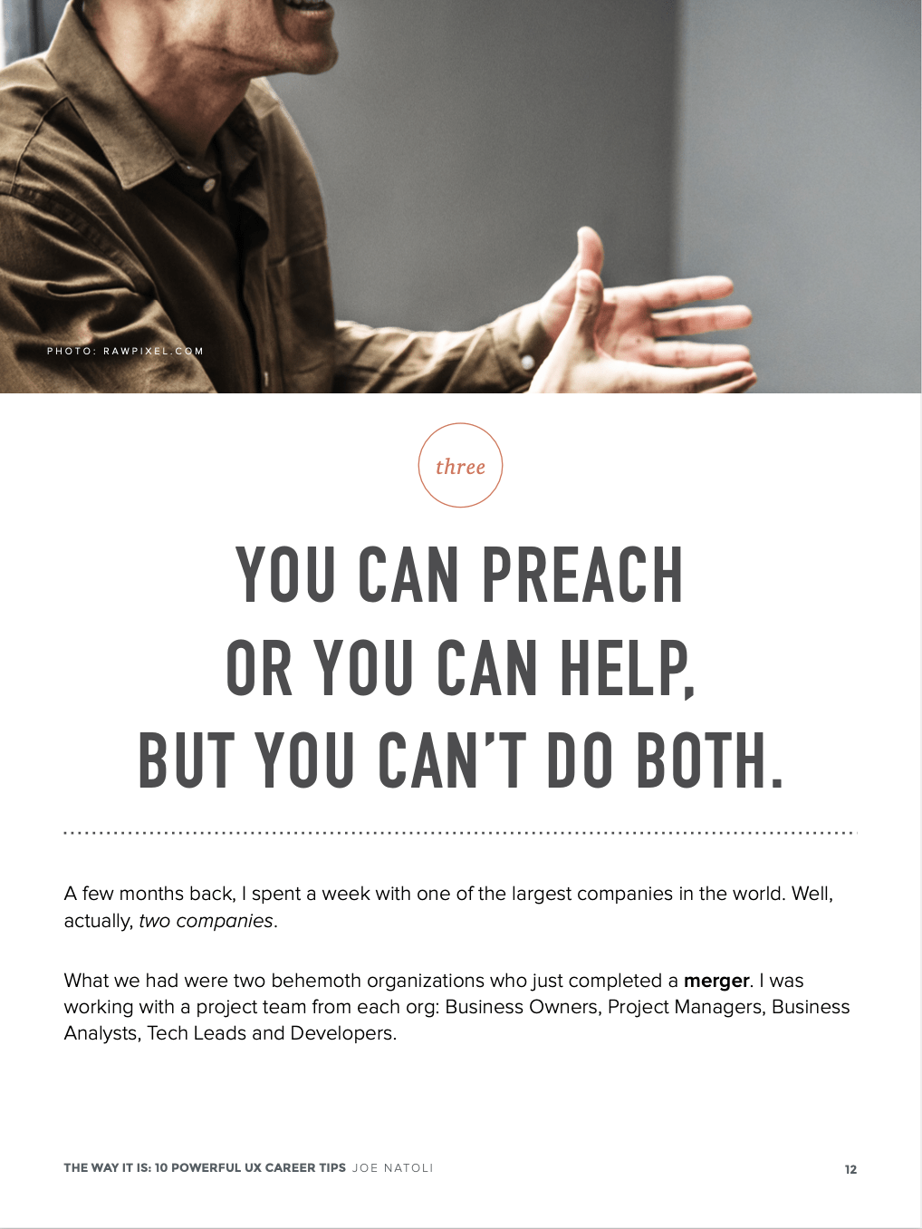"""Additional inside page from Joe Natoli's """"THE WAY IT IS"""" e-book showing the phrase, """"you can preach or you can help, but you can't do both."""""""